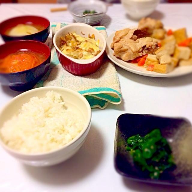 手羽の煮物 野菜の丸ごとスープ もやしのベーコンのチーズ焼き ほうれん草の和え物 - 3件のもぐもぐ - 手羽&野菜スープ&チーズ焼き by MAI