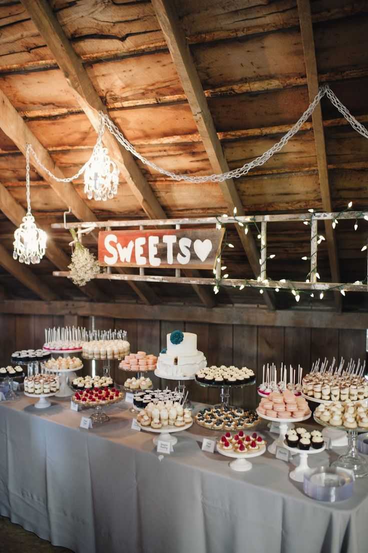 "Barn Wedding Mini Dessert Table - with ""Sweets"" written on barn wood"