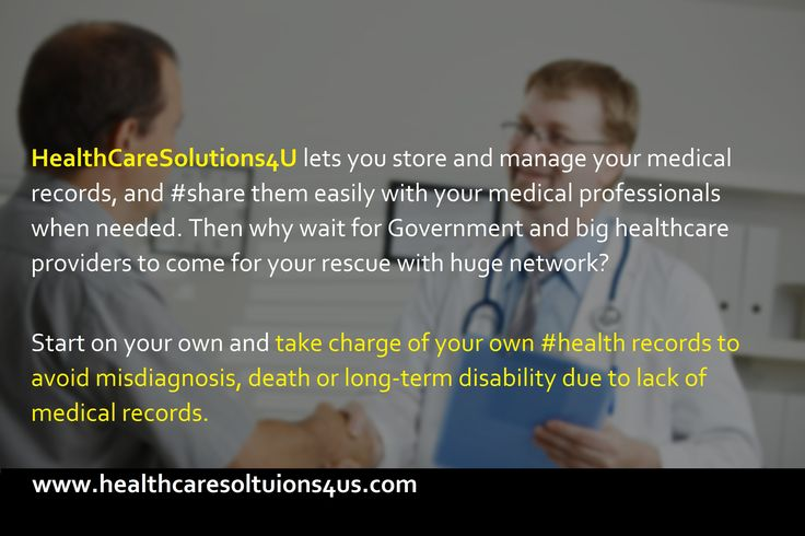 #HealthCareSolutions4U lets you #store and #manage your medical records, and #share them easily with your medical professionals when needed. Then why wait for Government and big healthcare providers to come for your rescue with huge network? Start on your own and take charge of your own #health records to avoid misdiagnosis, death or long-term disability due to lack of medical records. To start, register here: https://www.healthcaresolutions4us.com/register.php