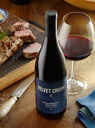 Velvet Crush Crush Masters Pinot Noir. Never a more indulgent Pinot with bright fruit, mocha and spice • Medium bodied, and full of flavor • French oak aged.