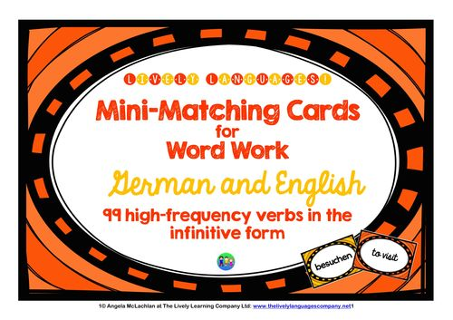 Mini-matching cards for word work - 99 high-frequency verbs, German & English