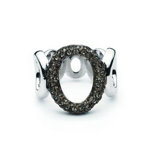 Black Diamond Crystal pave Ring of circles