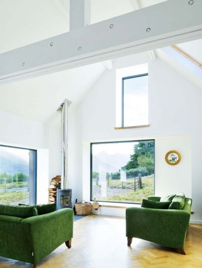 Leachachan Barn double height living space with windows