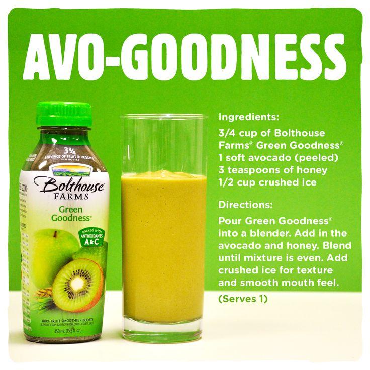 Avo-Goodness - Bolthouse Farms Green Goodness Avocado Smoothie.