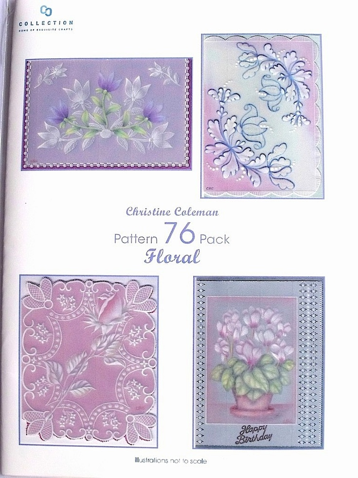 PATTERN PACK 76 - FLORAL BY CHRISTINE COLEMAN     Pattern pack 76 Floral by Christine Coleman.  Four beautiful designs for cards with a floral theme. Full, easy to follow, instructions and patterns included.