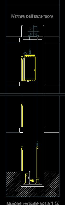 Section in elevator shafts (dwgAutocad drawing)