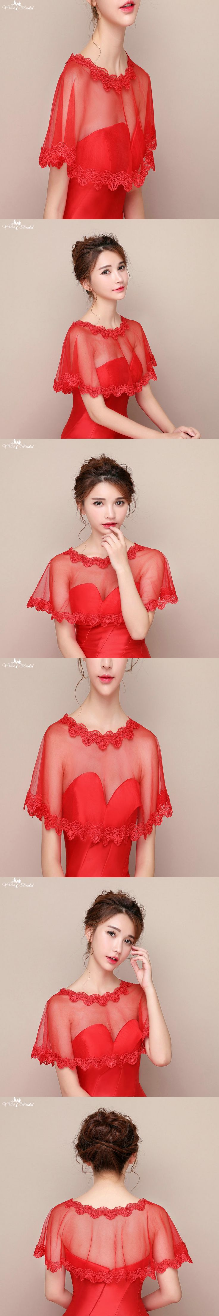 LZP089 Simple One Layer Red Lace Edge Lace Bolero Wedding Shawl