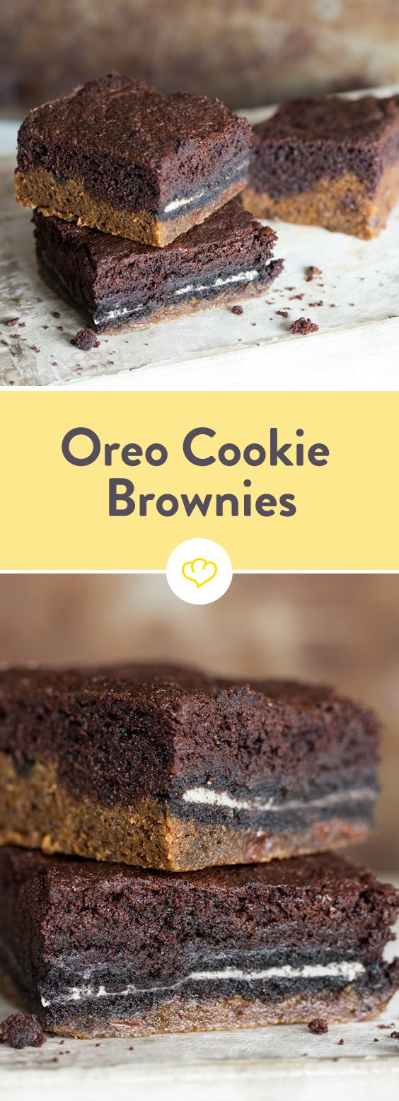 Die Oreos verstecken sich zwischen einem Boden aus super fluffigem Cookie-Teig und getoppt werden sie mit sanftigen Brownies. Schoko-addicted? Hier entlang!