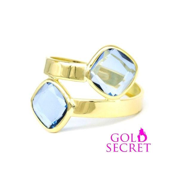 Divine Secret by Gold Secret. Sortija de Oro Amarillo 18 k., con 2 Agua Marina Termium cruzadas. Ref 103002-2 PVP 89 €.