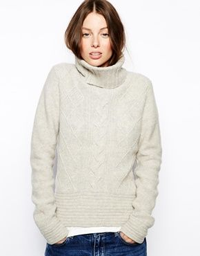 Boss Orange Imogene Roll Neck Sweater with Cable Detail