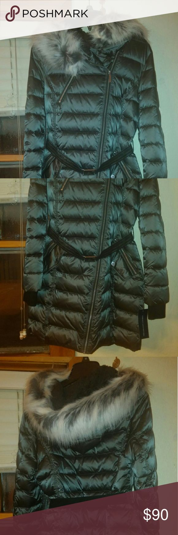 """French connection hooded puffer coat Brand new, chest 20"""", sleeves 26"""", top to hem 33"""". Gunmetal. French Connection Jackets & Coats Puffers"""