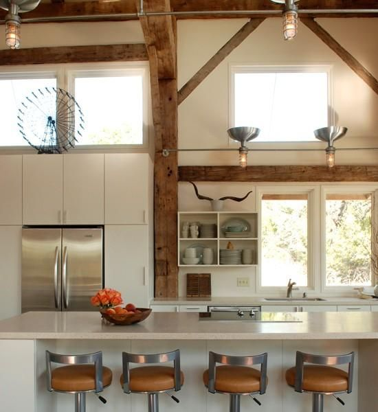 Heritage Barns- white kitchen exposed timber structure