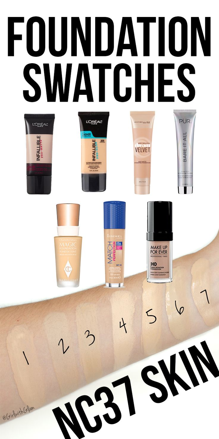 I decided to swatch some of my favorite foundations. These are foundations that are close matches for my NC37 Skin. I swatched L'oreal Pro Matte, L'oreal Pro Glow, Maybelline Matte Velvet, Pur Cosmetics 4-in-1 Bare It All Foundation, Charlotte Tilbury  Magic Foundation, Make Up For Ever HD Foundation, and Rimmel London Match Perfection Foundation. Hope this helps your makeup looks and foundation matches.