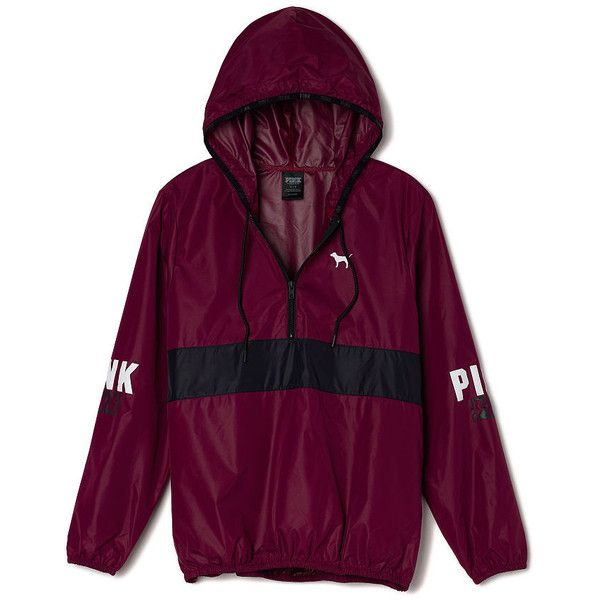 Victoria's Secret Anorak Pullover,print (€53) ❤ liked on Polyvore featuring tops, hoodies, jackets, ceket, outerwear, victoria secret pink hoodie, half zip hoodie, pullover hoodies, graphic pullover hoodies and hoodie pullover