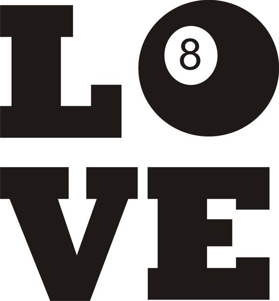 "Love Pool Billiards 8 Ball 5.5"" x 5""  -  Vinyl Window Decal Sticker  -  Your Choice of 14 Colors - By 2 Get 1 FREE - FREE U.S. Shipping"