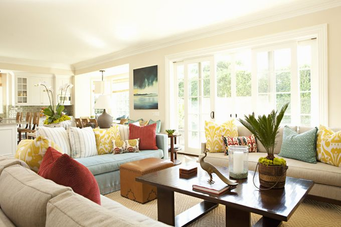 mix of aqua, red yellow with neutral wall: Colors Combos, Living Rooms, Idea, Trout Hall,  Eating House, Window, Bonesteel Trout, Colors Schemes, Families Rooms