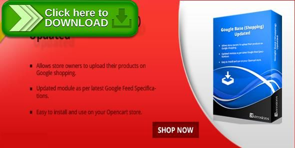 [ThemeForest]Free nulled download Opencart Google Shopping Product Feed from http://zippyfile.download/f.php?id=50229 Tags: ecommerce, google base, google feed, google shopping, opencart, opencart extensions, opencart googe feed, opencart module, product feed