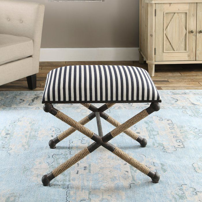Brunon Metal Upholstered Vanity Stool In 2020 Small Bench Rustic Bench Iron Stools