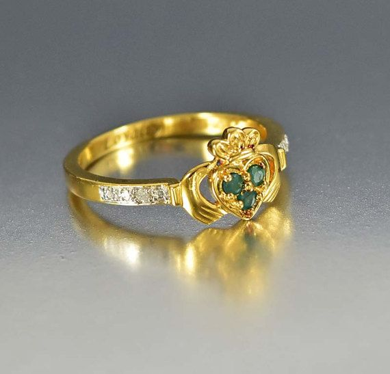 Vintage Esmeralda diamante Claddagh Ring, anillo de Claddagh oro Vermeil, Fede Gimmel hombres Unisex de estilo, anillo de Esmeralda, el mejor amigo corazón anillo