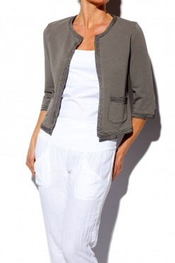 European Culture Grey Jersey Box Jacket from Getmyfashion.com