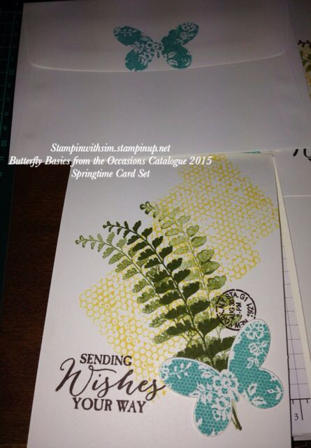 2015 Stampin Up Occasions Catalogue. Butterfly Basics stamp set seen here in Springtime Card Set Sale-A-Bration Stampinwithsim.stampinup.net