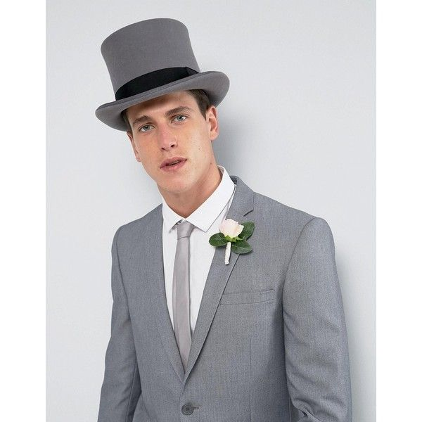 ASOS WEDDING Top Hat In Grey Felt ($39) ❤ liked on Polyvore featuring men's fashion, men's accessories, men's hats, grey, asos mens hats, men's brimmed hats, mens felt hat and mens wedding accessories