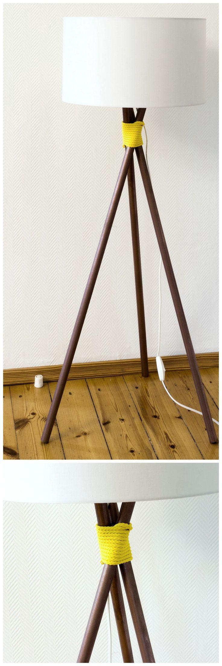 DIY Stehlampe in Kupfer mit gelbem Seil - super easy ohne Sägen, Bohren, Schrauben oder Kleben! || DIY floor lamp with copper and yellow rope
