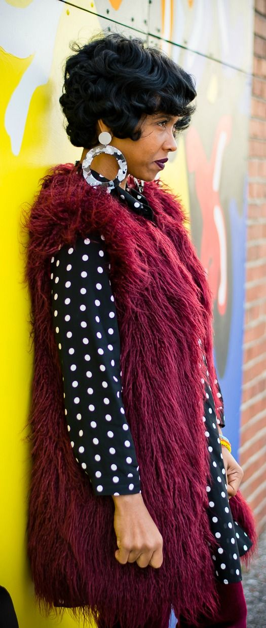 Hair, Faux Fur Vest, Polka Dot, Waves