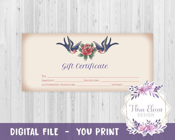 Tattoo Printable Gift Certificate | Products | Gifts, Company gifts ...