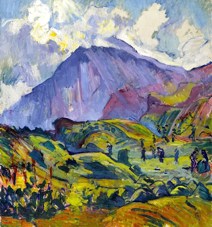 Giovanni Giacometti(1868 - 1933) The hay harvest near Maloja. 1923