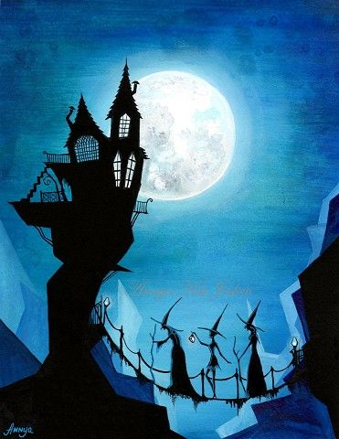 Witch Sisters and a Blue Moon - Halloween Dark Spooky Wall Art - 8.5 x 11 Painting Print