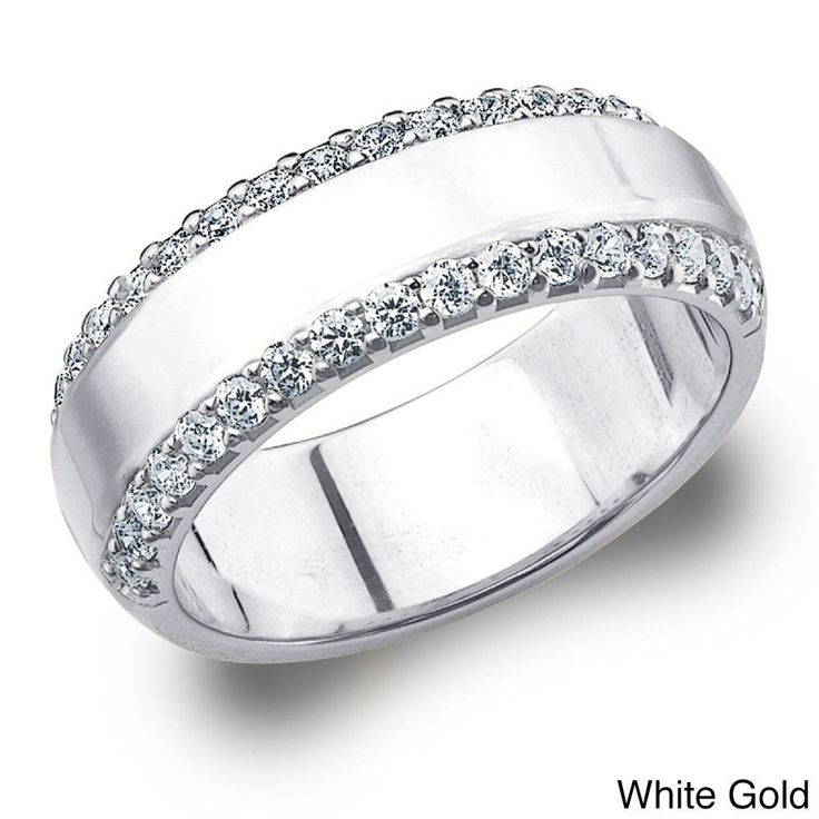 Amore 14k Gold 1/2ct TDW Machine-set Diamond Anniversary Band (H-I, I1-I2) | Overstock™ Shopping - Top Rated Diamond Rings