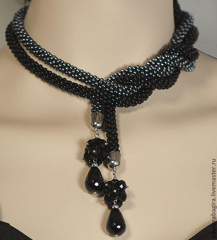 """Купить Лариат """"Черный бриллиант"""" - лариат, лариат из бисера, галстук из бисера, Галстук вязаный"""