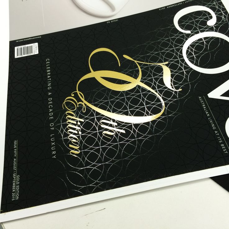 """For the Sanctuary Cove 50th Edition magazine - Daroji firstly SOFT Matt laminated the cover then we screenprinted over with our LIQUID METAL Gold for the """"50th edition""""  & then we Gloss Varnished an exquisitely fine detail pattern perfectly matched over the Liquid Metal Gold. www.daroji.com.au #screenprint #printfinishing #daroji #liquidmetal"""