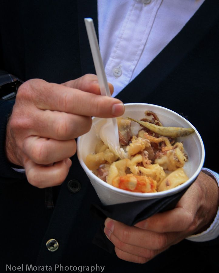 Try some cicchetto - fried seafood with polenta Venice #cicchetti #Venice #Italy
