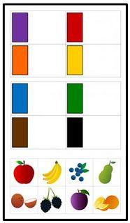 Jeu de classification dès couleurs et des fruits et légumes
