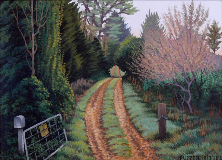 Dick Frizzell, 2014, Leafy Track, acrylic on canvas, 520x670mm