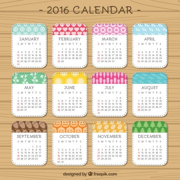 lindo 2016 del calendario | Descargar Vectores gratis
