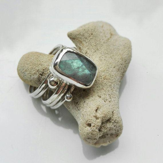 Stapel ringen Labradoriet / 925 sterling zilveren ring / Zilveren ringen / Boho / Gypset / Ring Set / Vierkant / Edelsteen / Groen Blauw