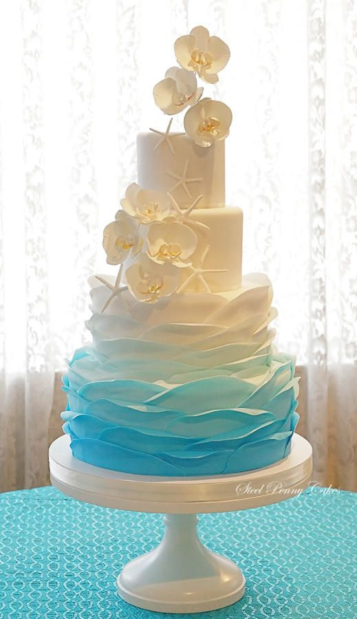Ombre Ruffles and Orchids by Elysia Smith - http://cakesdecor.com/cakes/210282-ombre-ruffles-and-orchids