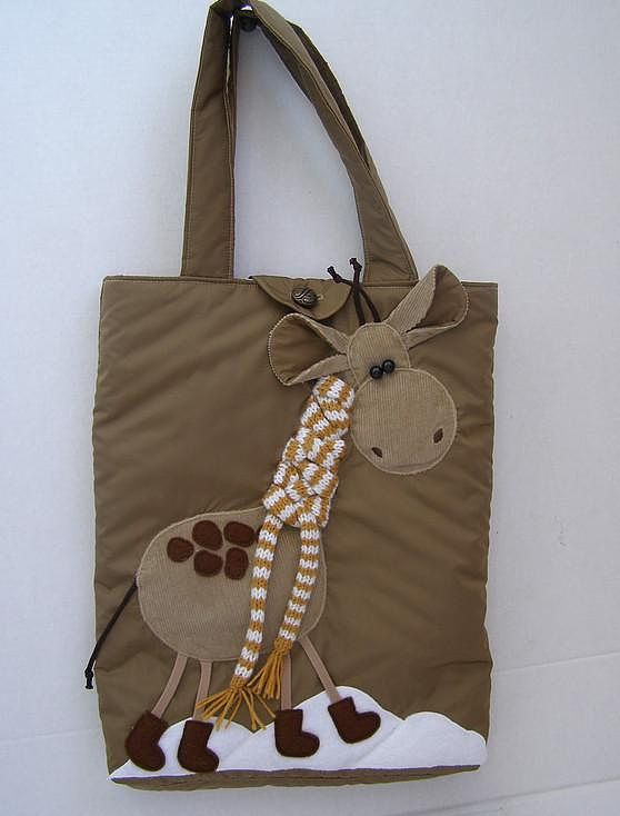 Inspiration for a great boy tote bag with giraffe in browns - Lane needs this!