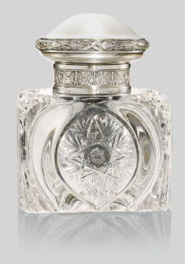 ❤ - A Fabergé silver-mounted cut glass inkwell, Moscow, 1908-1917 - Sotheby's