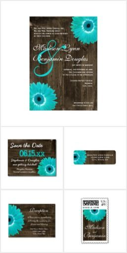 Rustic Wood Teal Daisy Wedding Invitation Set