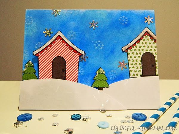 Lawnscaping Winter Blog Hop using the sweet Christmas @Lawn Fawn stamp set and the peace joy love 6x6 paper pad #christmas #village #cardmaking