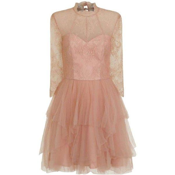 *Chi Chi London Petite Pink Tutu Dress (3 420 UAH) ❤ liked on Polyvore featuring dresses, petite, pink, mini dress, beige cocktail dress, beige dress, pink cocktail dress and sheer cocktail dress