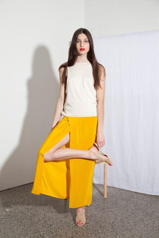 Diviner Top - Pearl & Spindrift skirt - Kowhai