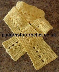Free crochet pattern for ladies scarf http://www.patternsforcrochet.co.uk/scarf-usa.html #crochet