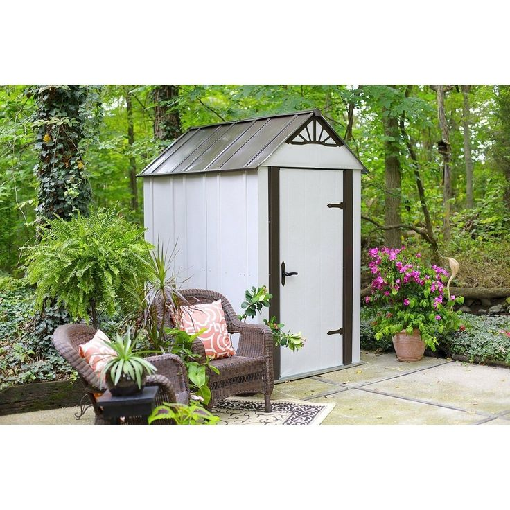 Arrow Designer Hot Dipped Galvanized Steel Shed 4' W x 6' L With swing doors / DSM46 (Off-White (Beige))