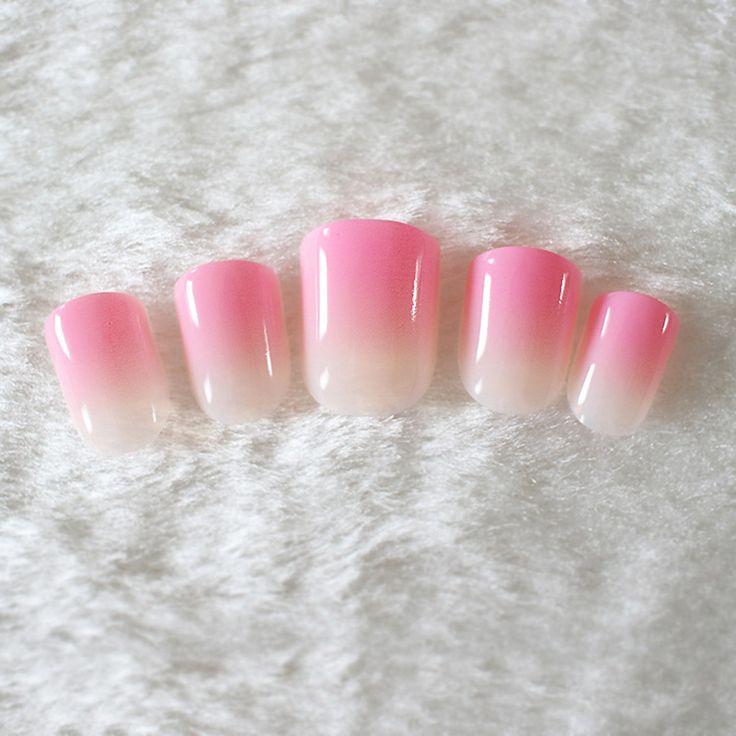 24pcs/kit Artificial False Nail Art Tips Pearl Shine Surface Hand Nails Fashion Gradient Bright Pink and Natural Pink #15