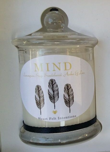 """MIND"" Small Candle This Divine collection of Exquisite Soy Candles are all Handmade and Hand Poured from with quality soy wax and cotton, lead free wicks providing your home with an eco-friendly environment. Enjoy the subtle aroma of ""Mind"" a crisp fragrance to sharpen the mind assisting you with clarity and peace of mind. Perfect candle to light for mind chatter and to rid those unwanted to thoughts.   INTENTION infused within your candle ""Mind"" - Uplifting, Clarity of Mind, Peace of Mind…"